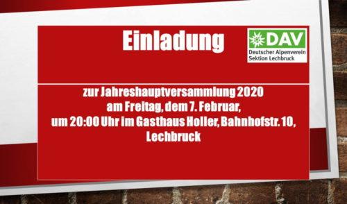 Artikelbild zu Artikel Einladung zur Jahreshauptversammlung 2020 am Freitag, dem 7. Februar, um 20:00 Uhr im Gasthaus Holler, Bahnhofstr. 10, Lechbruck